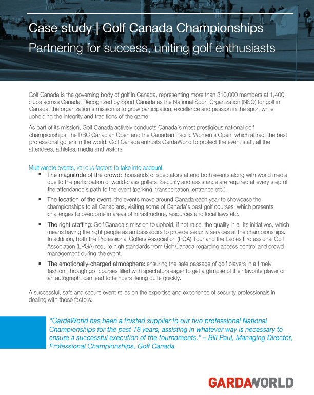 Golf Canada Championships | GardaWorld