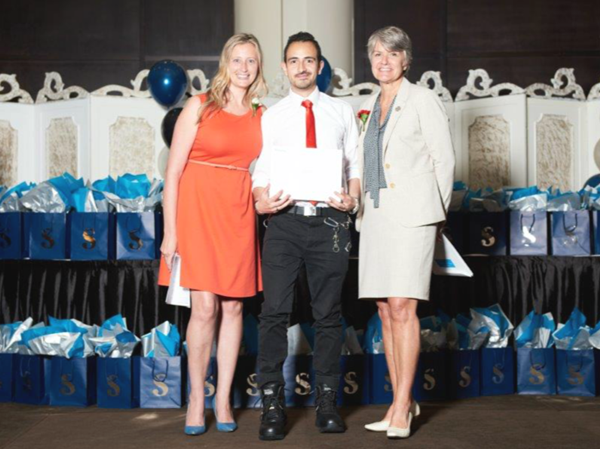 Danielle Weddepohl (Program Coordinator, Investigation – Public and Private Program, Sheridan College), David Osorio (award recipient), Colleen Arnold (Vice President, National Customer Service Excellence and Operations - Central & Atlantic Canada, GardaWorld)