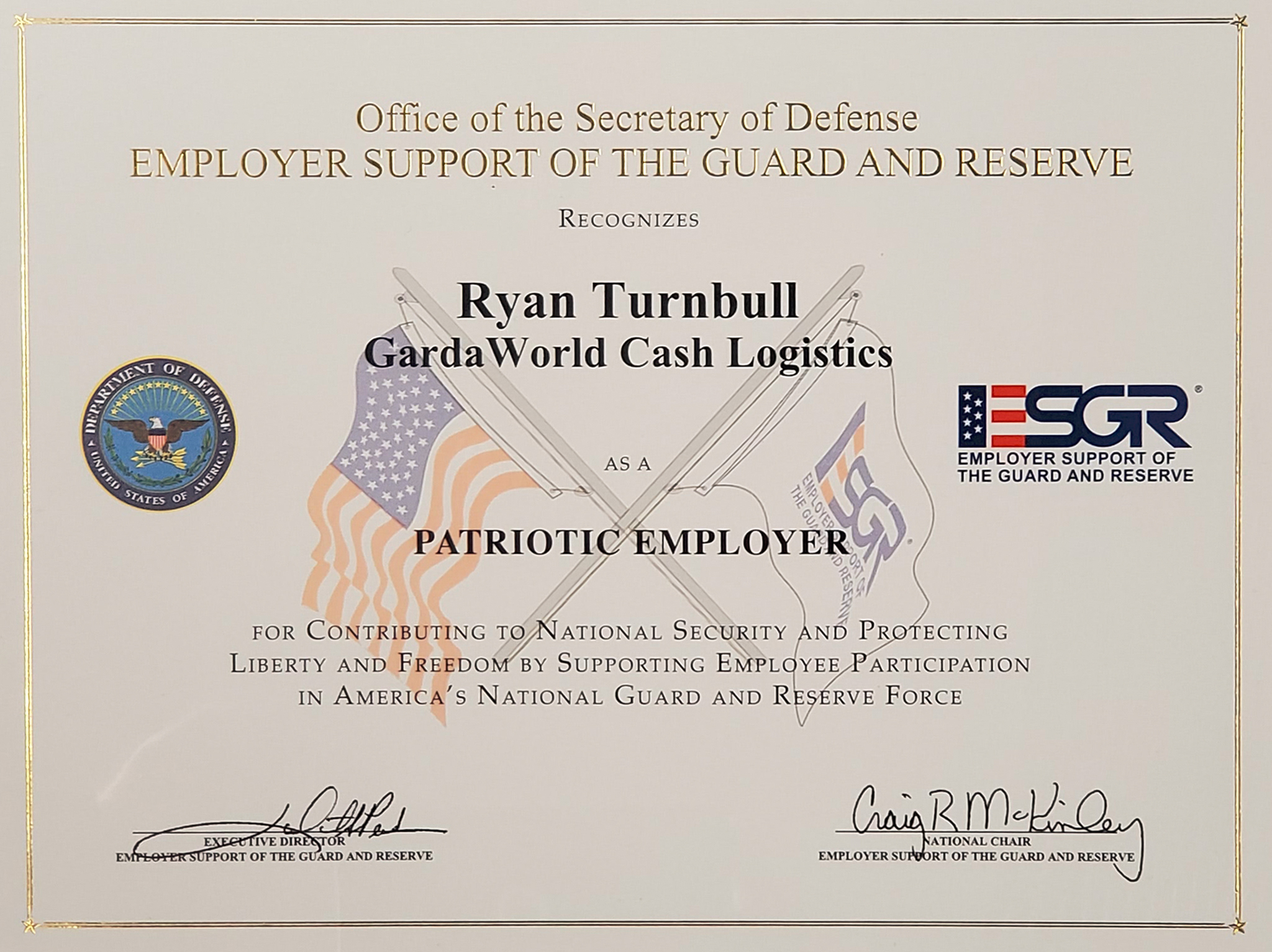 Ryan Turnbull's Patriot Award