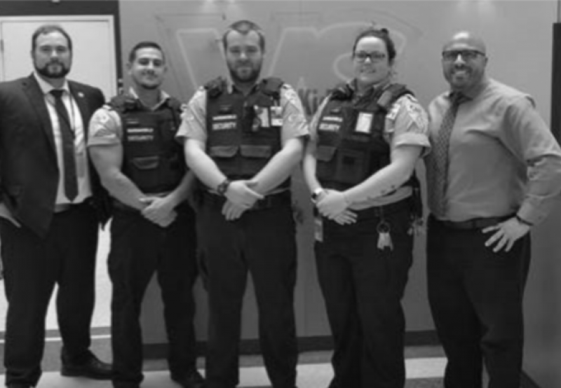 Left to right: Justin Sharrard (Account Manager), Michael Baglione (Security Guard), Leighland Cotter (Security Guard—Assistant Platoon Leader), Karlie Robinson (Security Guard), Raffi Demerjian (Portfolio Director)