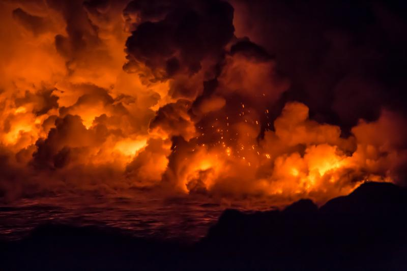 Active lava flow explosion in Hawaii