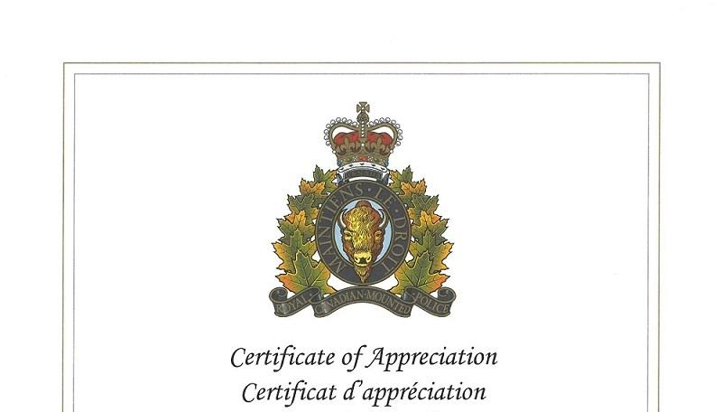 RCMP Certificate of Appreciation