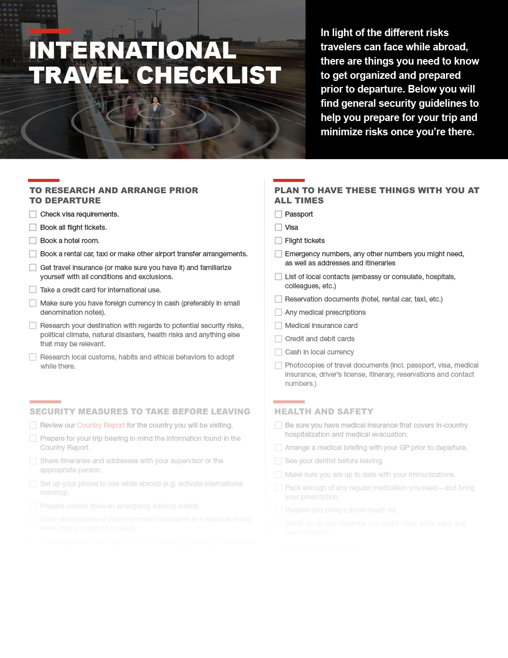 International Travel Checklist